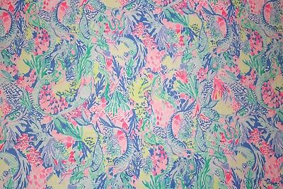 Lilly Pulitzer STRETCHY Cotton Border Fabric~Mermaid Cove~36