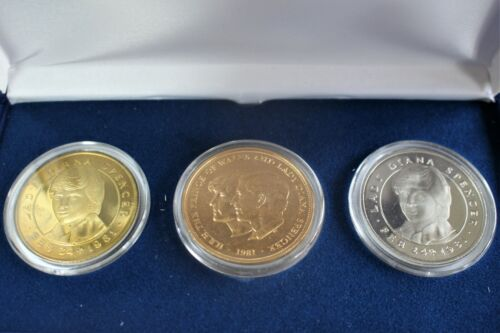 Gold 1981 British Royal Mint Commemorativ Princess Diana Charles Coin 3-Coin Set