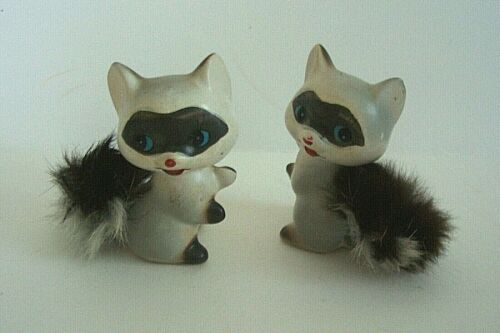 2 Vintage Raccoon Figurines w/Fur Tails 2Cute!