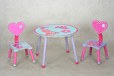eHemco Kids Table and 2 Chairs Set with Hearts Theme