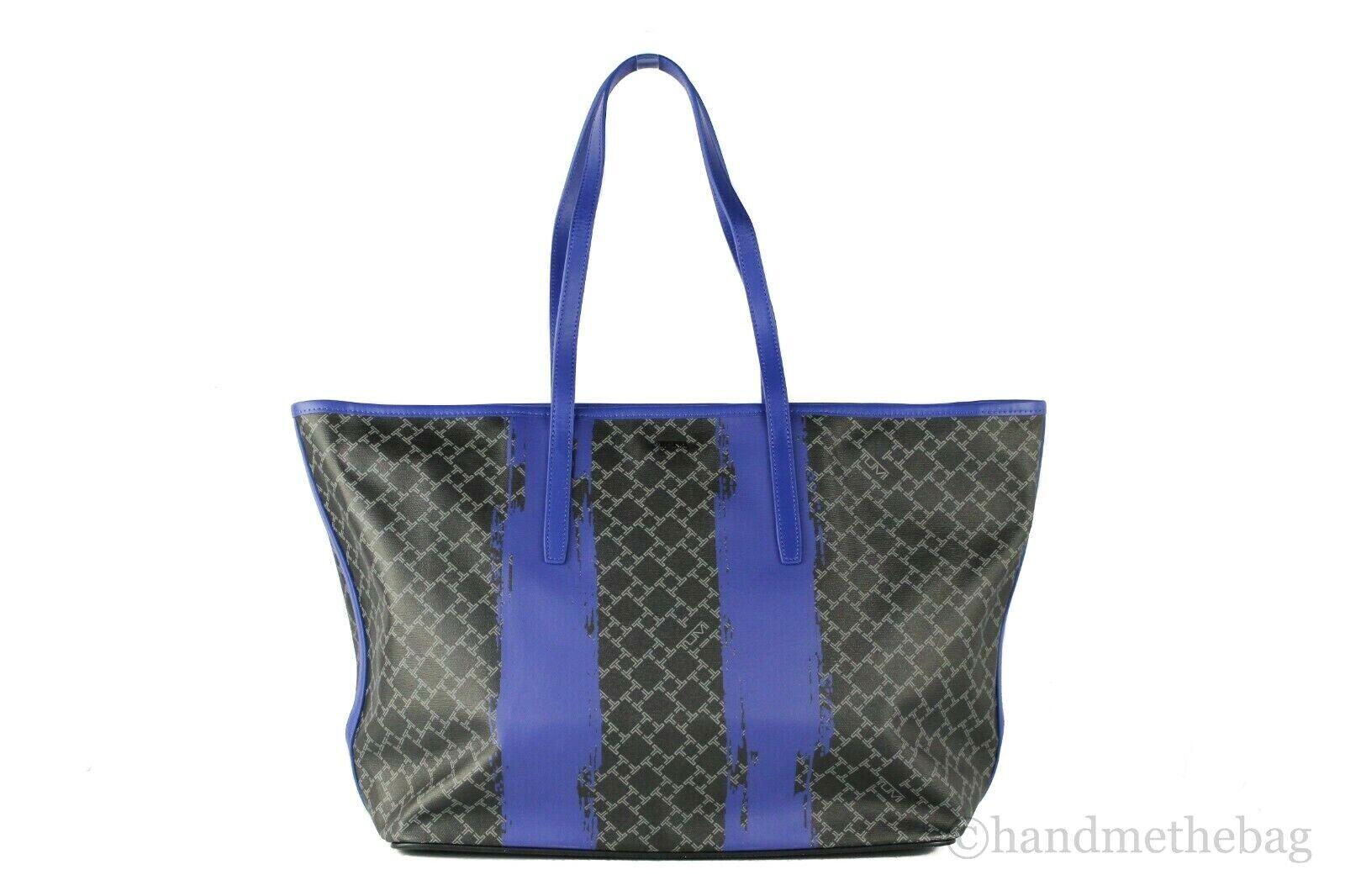 Tumi Everyday Large Coated Canvas Leather Shoulder Tote Bag Carryall Handbag Black/Blue