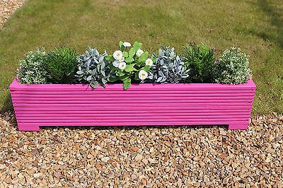 Pink 100x22x23 (cm) Wooden Garden Trough Planter or Plant Pots