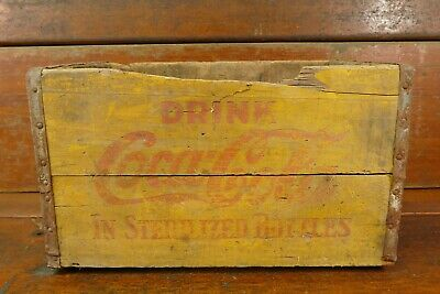 """Vintage Rare 1950's Coca Cola """"In Sterilized Bottles"""" Family Yellow Wood Crate"""