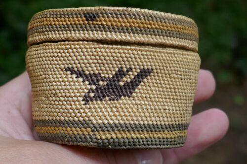Vintage Nootka Tribal Super Fine Woven Cabinet/Treasure Basket - Bird design