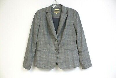 Talbots Blazer Sz 4P Petite Wool Plaid Suit Jacket Fabric Woven in Italy Gray