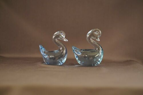 Pair Vintage SWAN Bird Clear Glass Art Deco Blue Murano Figurine Paperweight