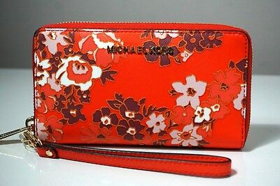 Michael Kors Jet Set Travel Large Leather Orange Phone Case Wallet/Wristlet