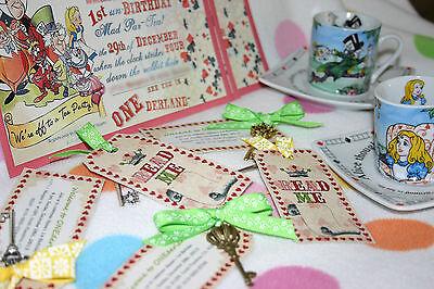 Alice in Wonderland Birthday Wedding Invitation Mad Hatter Tea Party Favor Key - Alice In Wonderland Party Invitations
