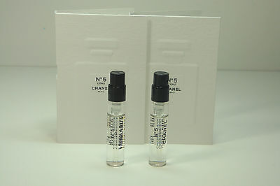 2x Chanel No 5 L'EAU Perfume EDT Spray Samples Vials 0.06 oz / 2 ml Each NEW