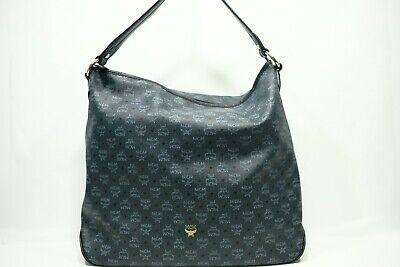 100% Authentic MCM Visetos Blue Hobo Shoulder Bag