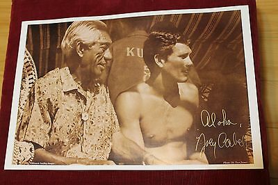Joey Cabell AUTOGRAPHED Duke Kahanamoku Hawaii 12x18in. Vtg. Surfing Poster