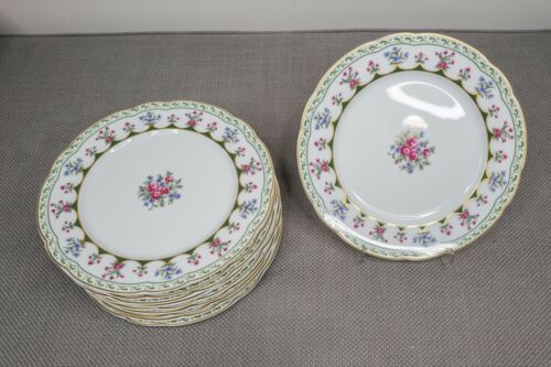 "Bernardaud Limoges Chateaubriand Green Dinner Plates Set of 10 - 10 3/8"" D"