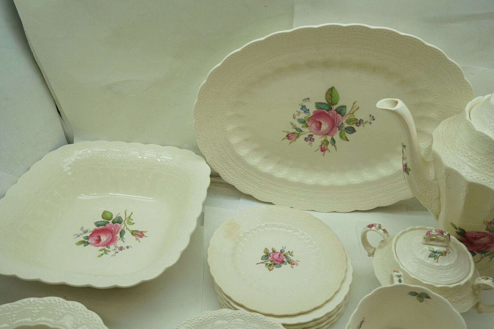 SPODE CHINA JEWEL BILLINGSLEY ROSE 44 PC SET SERVICE 6 WITH EXTRAS COFFEE POT