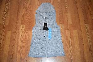 2d8889d49b489 NWT Womens ACTIVE LIFE Heather Gray Sleeveless Hoodie Fitness Sweater Vest M
