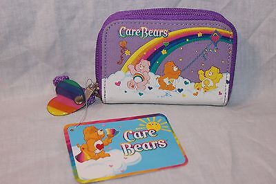 NEW WITH TAG CARE BEARS PURPLE  RAINBOW COIN AND ID WALLET