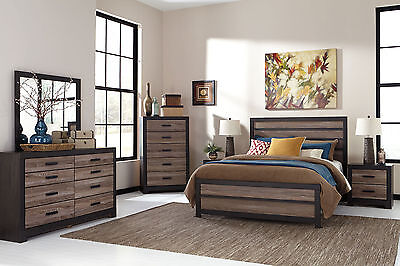MARLIN 5 pieces Modern Rustic Brown Bedroom Set Furniture - King Size Panel Bed