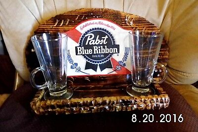 Pabst Blue Ribbon Handmade Rustic Wooden Beer Sign/Shelf/Glasses Original 2016, used for sale  Sebastian