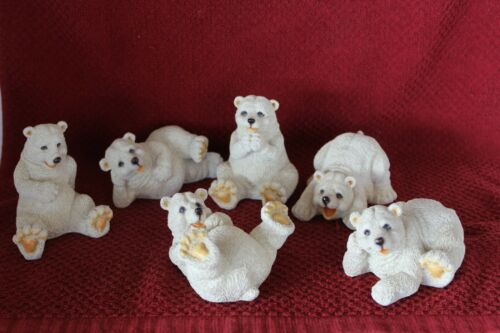 Set of 6 WUL signed 2001 POLYRESIN POLAR BEAR FIGURINES