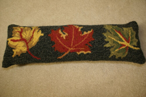 New Primitive Halloween Fall Wool Hooked Pillow Leaves FREE SHIP