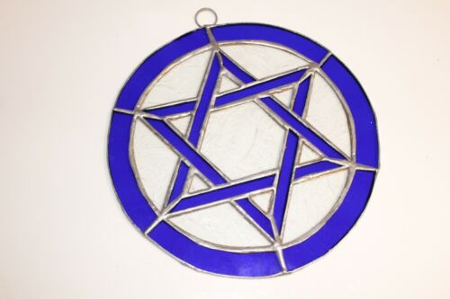 One Leaded Stained Glass Round Sun Catcher BLUE Star of David Hanging 7