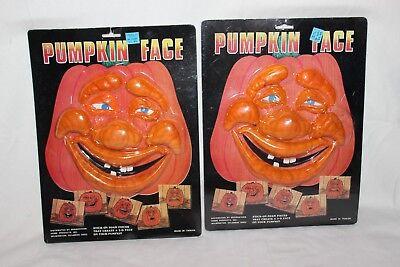 Vintage Foam Pumpkin Faces BRAND NEW Lot of 2 Jack O Lantern 3D Stick On HTF