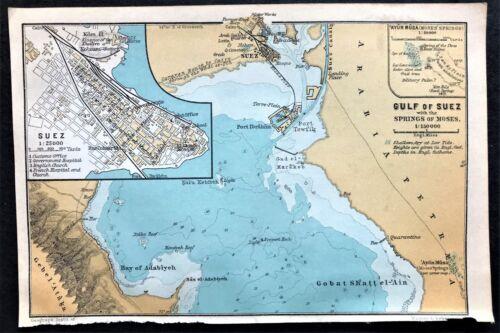 1908 GULF of SUEZ, EGYPT - Original Antique Color City Map - BAEDEKER