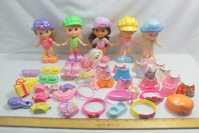 Fisher Price Snap N Style Lot of 5 Dolls-1 Dog-50+Clothes Shoes Access-ID#0510