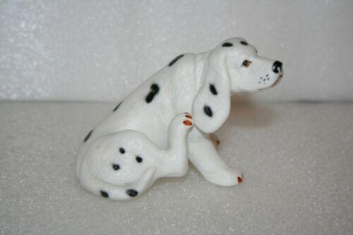 Dalmation Dog Figurine Scratches Ear Hand Paint Porcelain Bisque Art Pottery Vtg