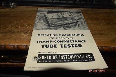 Vintage Original Superior Instruments Tube Tester Operating Instructions Tv-12
