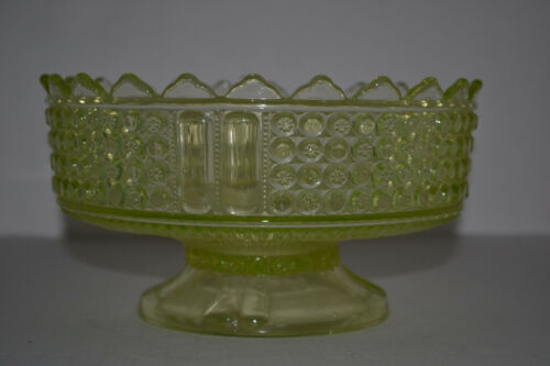 ANTIQUE CANARY YELLOW FOOTED COMPOTE BY RICHARDS &HARTLEY