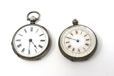 x2 Ladies Antique Victorian Sterling Key Wind Fob Pocket Watch 83.4g A/F #28907