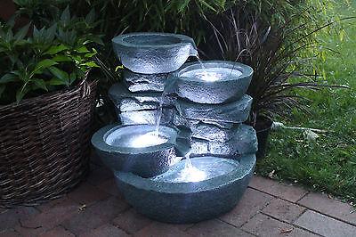 """Springbrunnen """"Cascades"""" Inkl. 3x LED Beleuchtung Gartenbrunnen Zimmerbrunnen"""