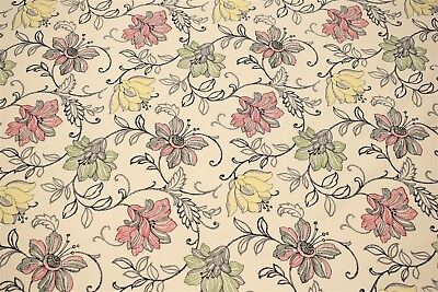 - Art Deco Red Scribbled Floral Print 100% Cotton Upholstery Drapery Fabric 55