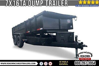 Hydraulic Dump Trailer 7x16 Tandem Axle W 8 Channel Frame 316 Steel