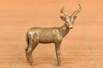Mini Chinese old bronze hand casting deer statue unique decoration collect gift