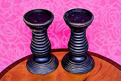 Pair of Antique Art Deco Massive Solid Oak Candlesticks