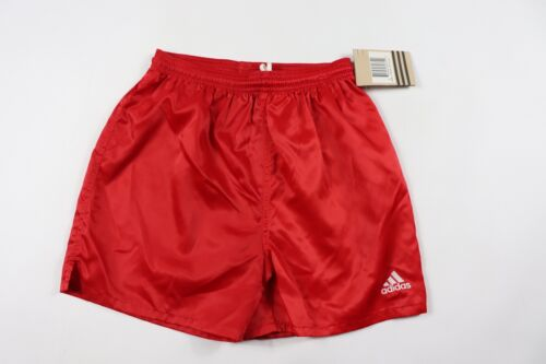 Vintage 90s New Adidas Youth XL Genoa Spell Out Nylon Soccer Shorts Solid Red