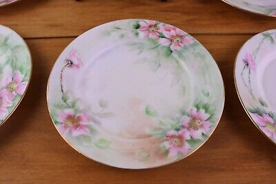 Hand Painted 6 Dessert Plates Wild Pink Roses Limoges France MINTY! 1890-1920  Hand Painted Dessert