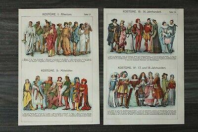 2x Litho Blatt Kostüme 1903-10 Altertum - 18. Jh. Kleider Mode Mann Frau Hüte ++
