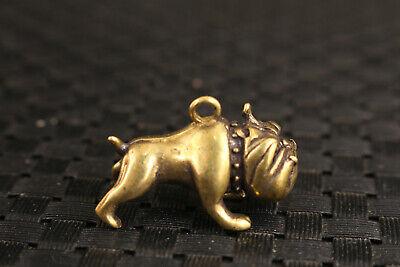 Chinese bronze bulldog statue figure collectable ornament netsuke