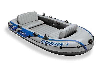Intex Excursion 4 Inflatable Boat Set Raft Dinghy With Oars   Pump 68324Ep