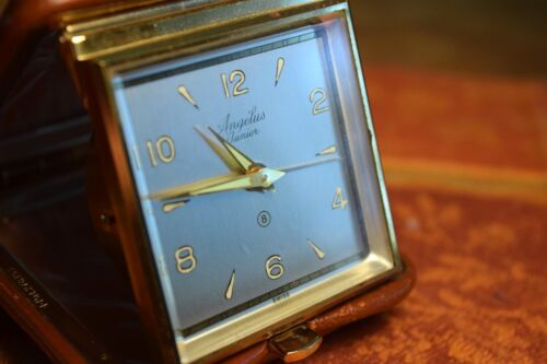 Very Rare ANGELUS Junior 8 day 15 Jewel Travel Alarm Clock,