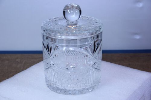 Beautifully Detailed Antique Crystal Biscuit Jar is 7 inches tall