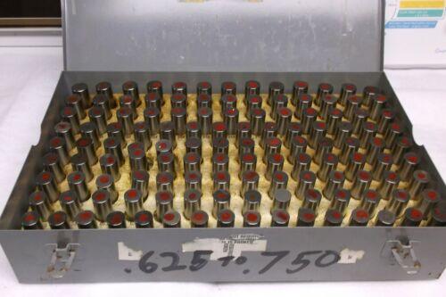 MEYER GAGE PIN  (FULL)  SET .625 to .750 STEEL ORIGINAL BOX. USED  GOOD