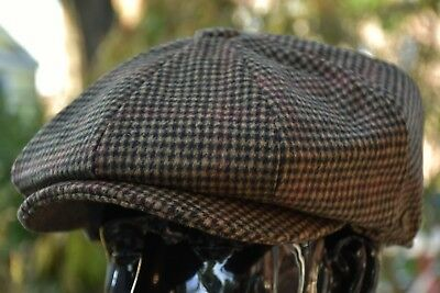 Men's 100% Thick Wool Newsboy Cap, Applejack Houndstooth Tweed Golf Hat 2745Brwn