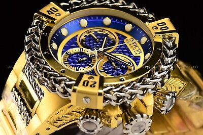 Invicta 53mm Reserve Bolt Hercules Swiss Gold Plated Steel Blue Chrono SS Watch