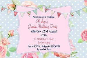 Personalised Vintage Afternoon Tea  Garden Party Birthday invitations x 10