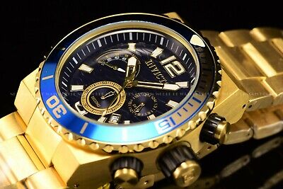 Invicta Men's 48mm Pro Diver Chronograph Gold Case Gold Tone Blue Dial SS Watch