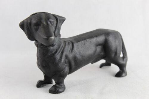 "Vintage Clean Cast Iron Black Dachshund Dog Bank Or Door Stop Heavy 5"" x 8"""