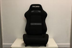 RECARO SR3 Black Cloth Reclinable Racing Seats 240sx Base Brackets S13 S14 S15